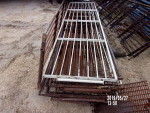"Pic 1 -  9 gates 31"" tall by 10' 6"" long   - 9 horizontal bars - solid rod.  bottom bar is 1"" solid round  -$50 each - 1 is brand new"