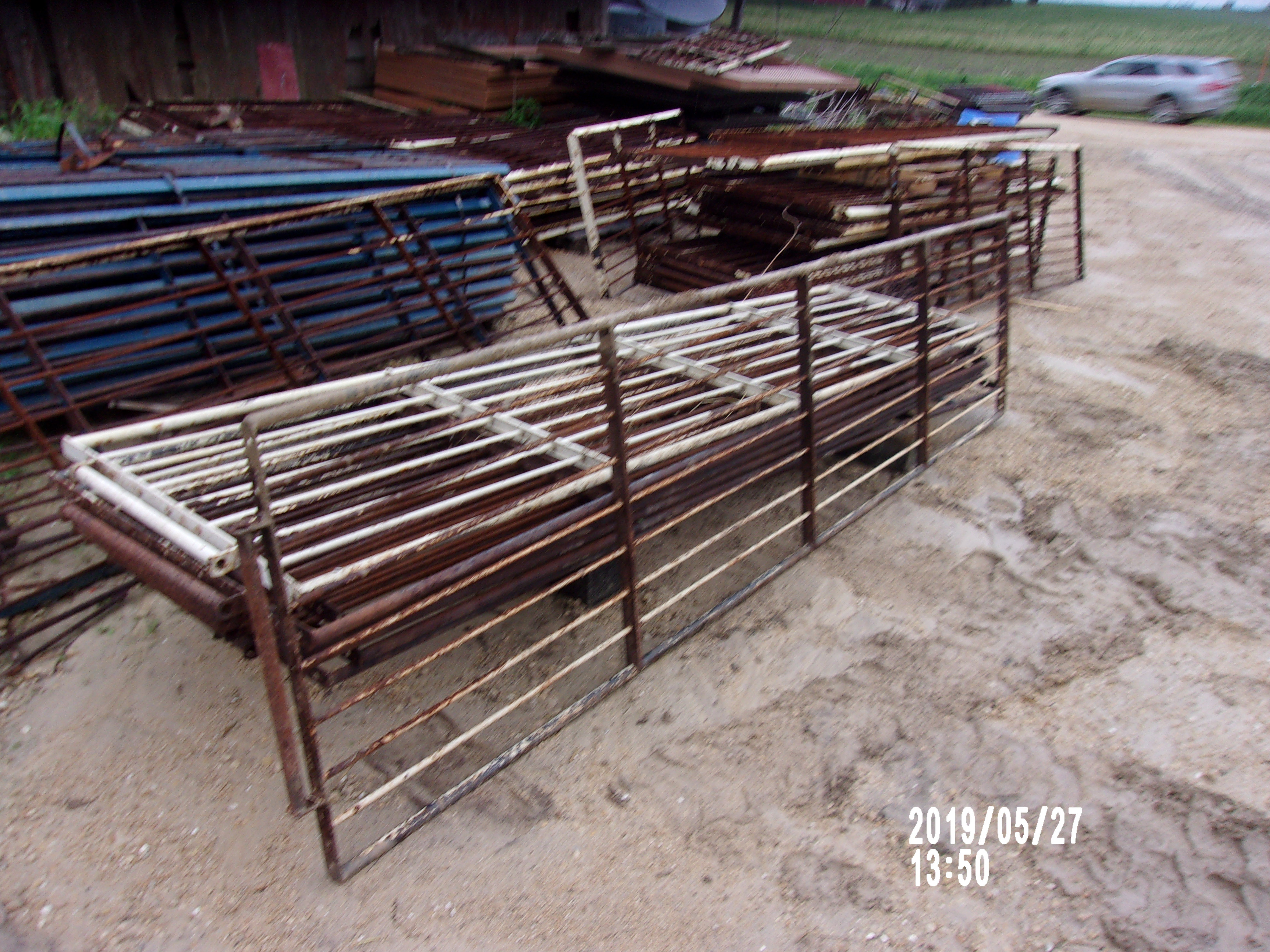 """Pic 2 -  9 gates 31"""" tall by 10' 6"""" long   - 9 horizontal bars - solid rod.  bottom bar is 1"""" solid round  -$50 each - 1 is brand new"""