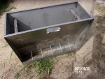 "Pic 1 of 3 - 1 nursery/ grower Stainless  feeder - 46"" long by 6 holes per side 20"" wide by 34"" tall so you could feed pigs a little bigger- $110"