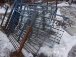 pic 1 of 2 --- 7 blue gates with a post/pad welded on - 58 1/2 inches long - $25 each