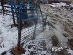 pic 2 of 2 --- 7 blue gates with a post/pad welded on - 58 1/2 inches long - $25 each