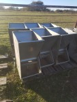 """8 crystal spring wet dry feeders, 15 """" wide , hole on each side, so will fit up flat along a fence - $120 each"""
