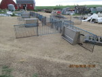 "5 pens set up has 2 - 42"" double sided stainless feeders and one single sided"