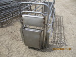 PIC 10 OF 10 - We have 200 of these crates available.  Easy to fill sow feeder & nipple water for sow and piglets.  These bow bar crates are all stainless $270 each add $60 for new PVC -  I have some used PVC dividers to help save  on costs