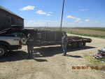 trailer of tri bar and feeders back to Bonduel Wisc