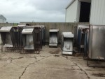 Stainless farrowing feeders with head gates.  $40 each without head gates $30  each